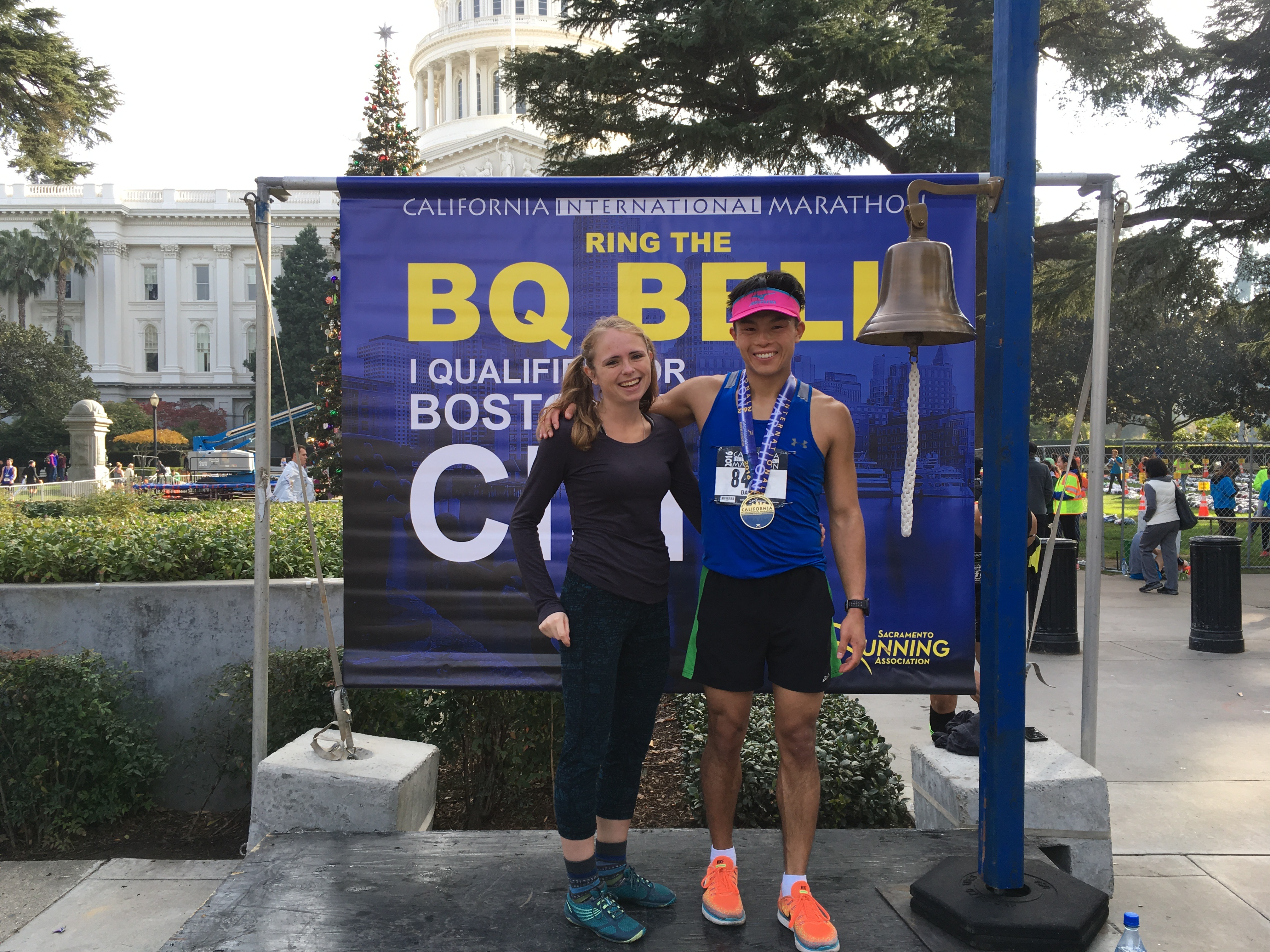 Ringing the Boston bell at the California International Marathon 2016