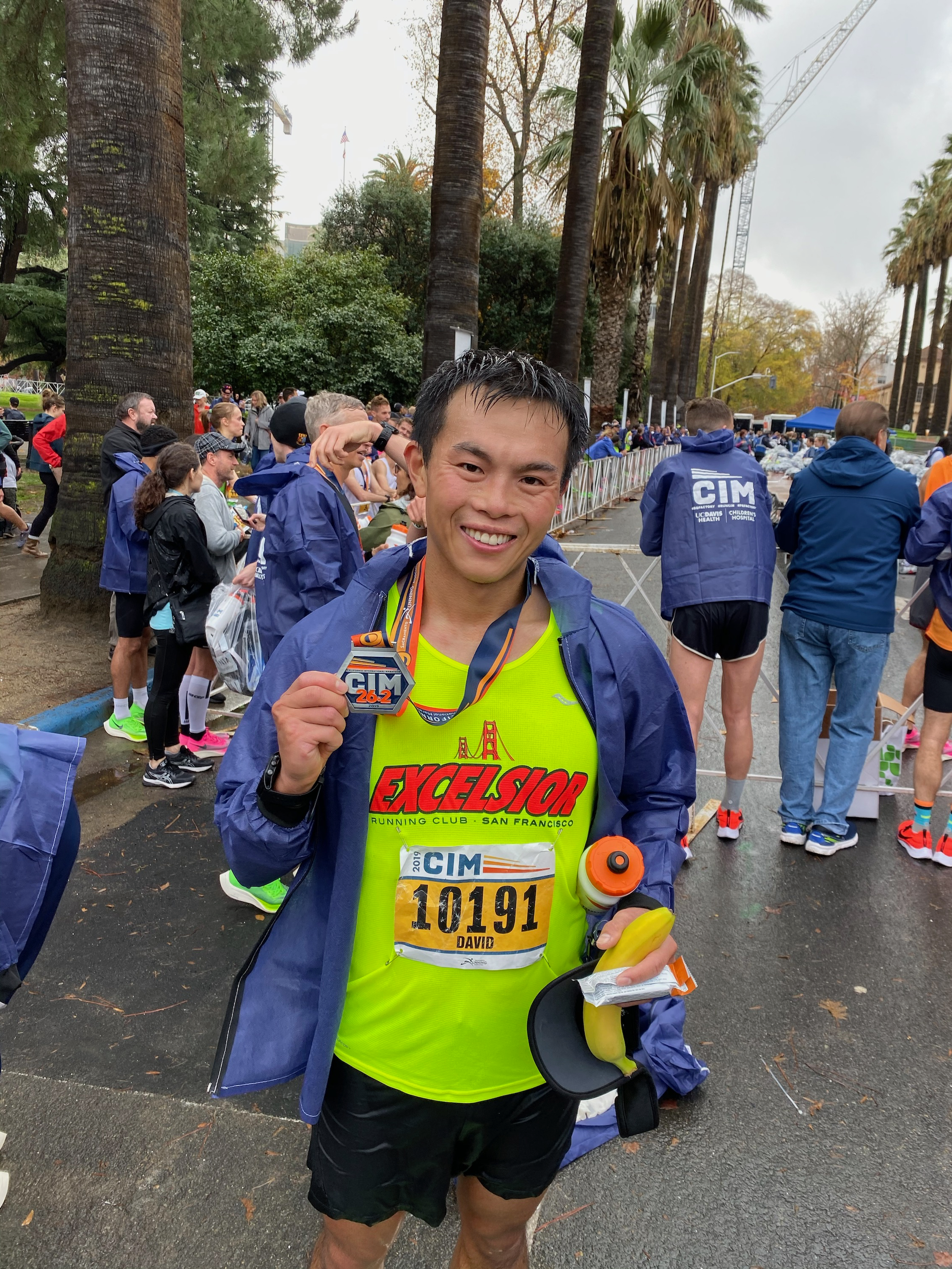 All smiles and very drenched at the finish line. Some of that is rain, I swear, although most of it is probably sweat. Maybe like 90% sweat and 10% rain. PC: Ricky Yean